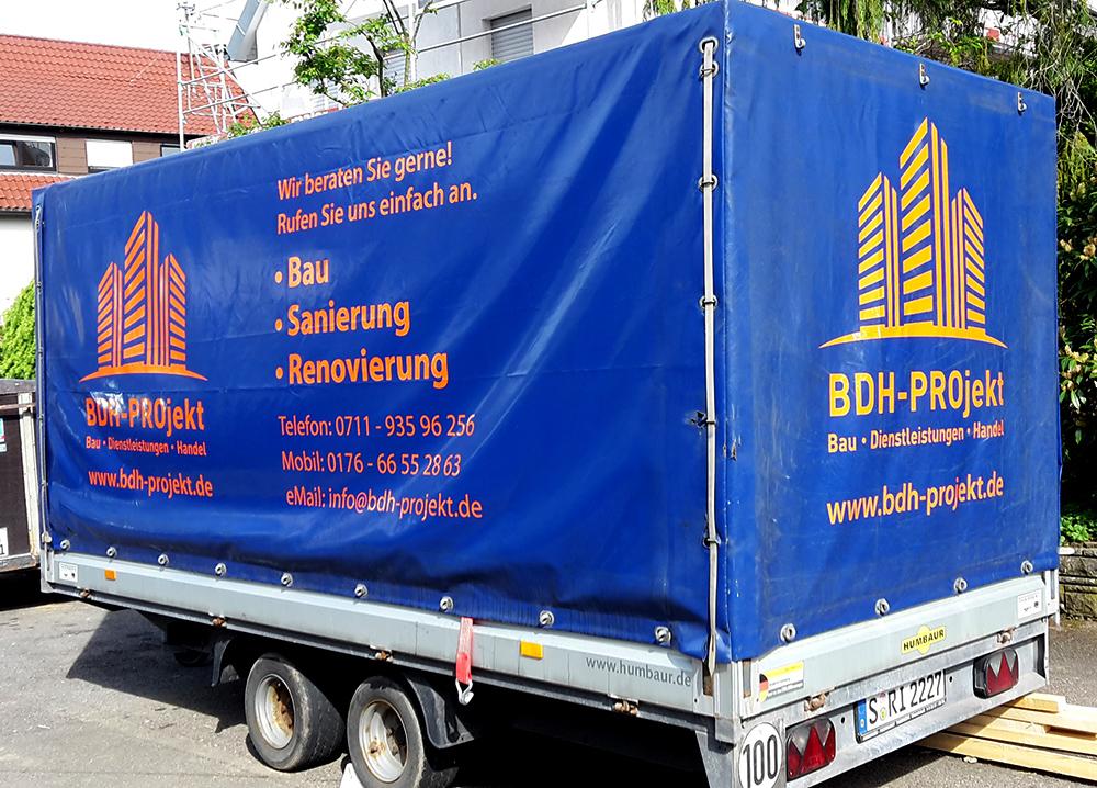 Planenbedruckung Planenbeschriftung für Fa. BDH-Projekt aus Stuttgart