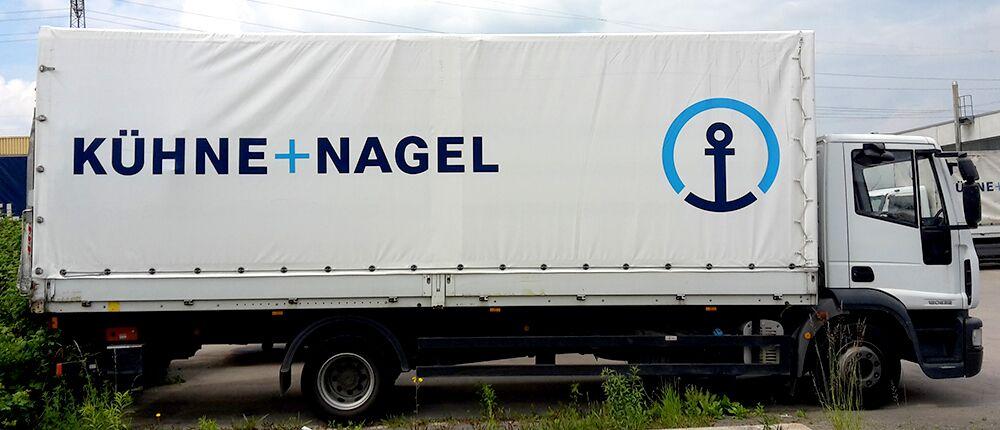 Planenbeschriftung bzw. Planenbedruckung für Kühne+Nagel in Freiberg am Neckar