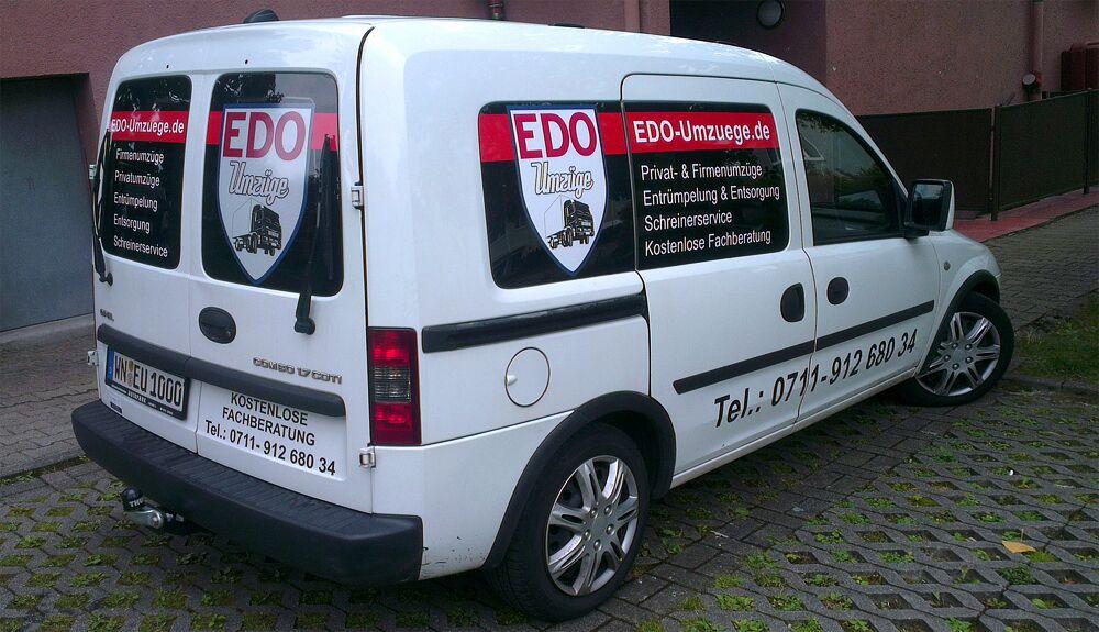 Autobeschriftung bzw. Lieferwagenbeschriftung für Edo Umzüge in Fellbach